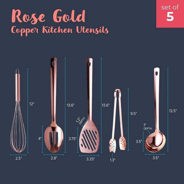 Rose Gold Copper Cooking Utensil Set Ladle Balloon Whisk Tongs Spatula Spoon Overstock 29074063