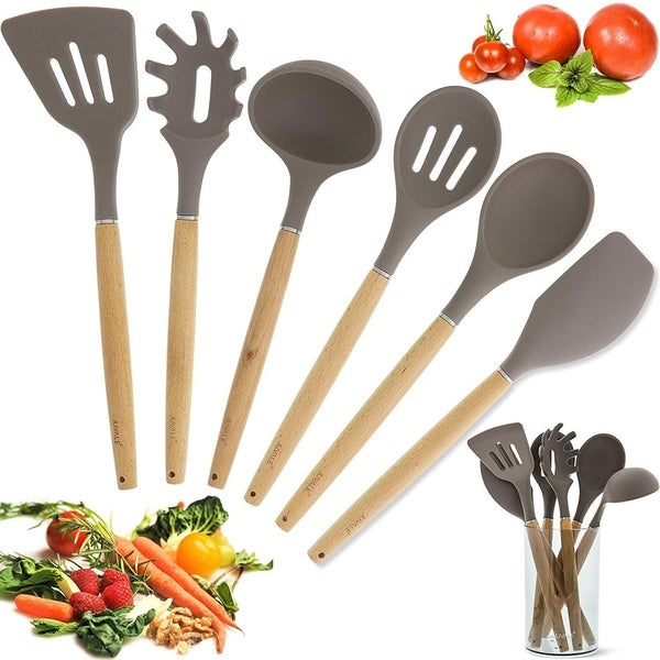 Bamboo Non-Stick Silicone Kitchen Utensil Cooking Tools 7 Piece Set with Holder. Opens flyout.