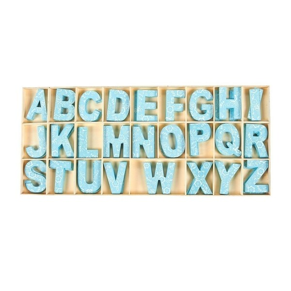 104 Piece Set Wooden Letters with Storage Tray - 4 Piece Each Letter, Blue