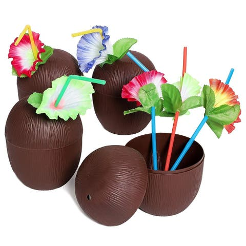 12 Plastic Coconut Cup with Straws Flowers for Hawaiian Luau Party Drink, 16 Oz