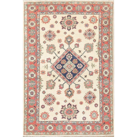 "Oriental Kazak Carpet Pakistani Hand Knotted Tribal Wool Area Rug - 4'10"" x 3'3"""