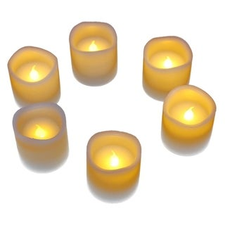 6 Candle Battery Operated Flickering Flameless Electric LED Light Real Wax White