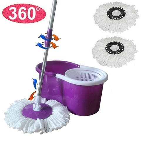 Microfiber Spining Magic Spin Mop w/Bucket 2 Heads Rotating 360°