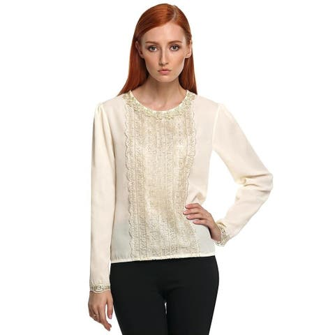 Women Fashion Casual Round Neck Long Sleeve Lace Trimming Patchwork Chiffon Blouse