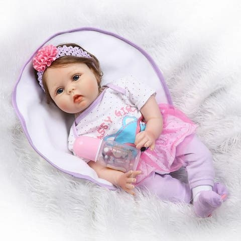 """NPK 22"""" Silicone Lovely Baby Doll with Purple Clothes"""