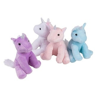 "4-Pack 7"" Plush Unicorn Toy Stuffed Animal for Kids Birthday Baby Shower Gifts"