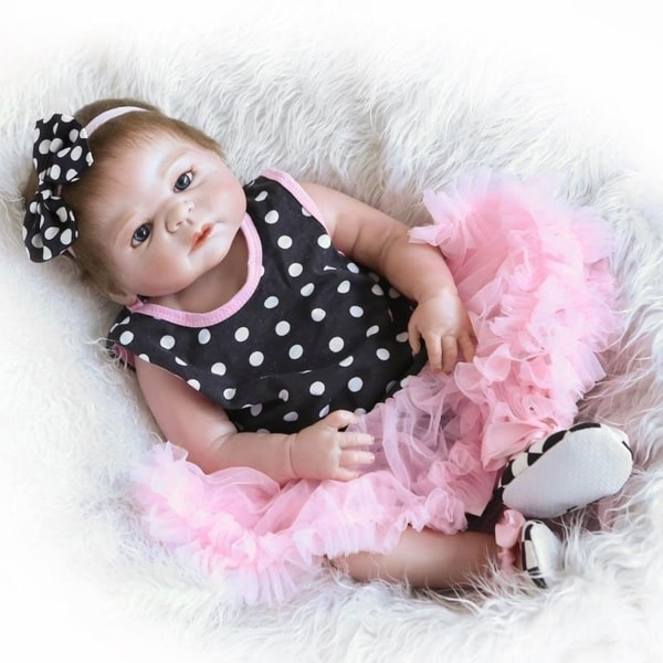 "23"" Beautiful Full Simulation Silicone Baby Girl Reborn Baby Doll in Dots Pattern Dress. Opens flyout."