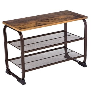 Industrial 3 Tier Wood Top Shoe Rack with Metal Base, Black and Brown