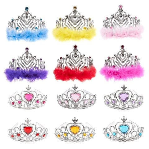 Princess Crown Set, 12 Pack Tiara Party Favors for Dress Up Fairytale Role Play