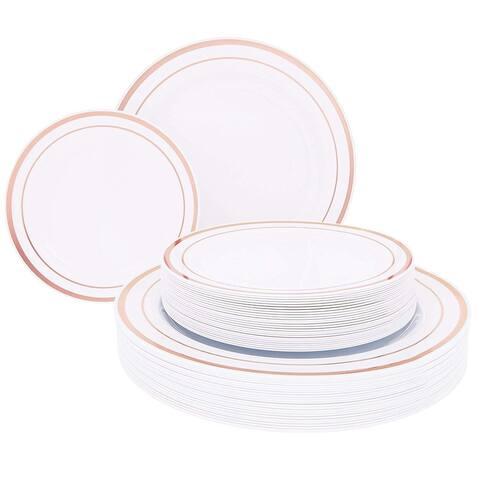 Juvale 50-Pack White Rose Gold Rim Wedding Plastic Plates Dessert Dinner Plates