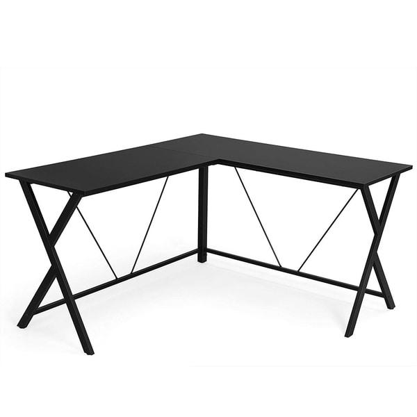 L Shaped Wooden Corner Desk with Geometric Metal Frame, Black