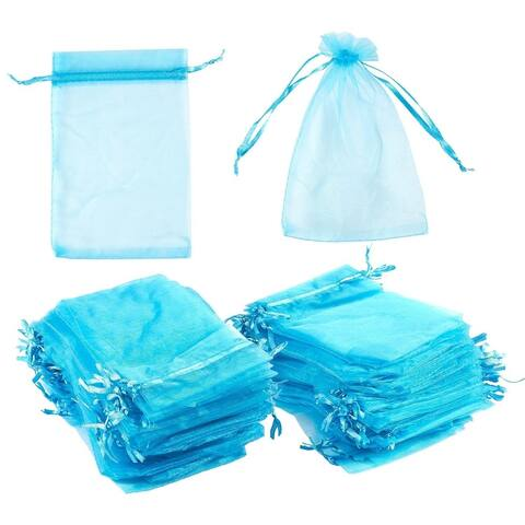 150 Blue Organza Wedding Party Favor Gift Bags Candy Sheer Bag Jewelry Pouches