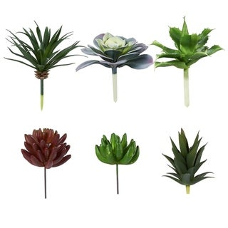6-Pack Artificial Succulents Fake Faux Plants Unpotted Home Garden Office Decor