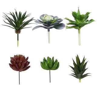 6-Pack Artificial Succulents Fake Faux Plants Unpotted Home Garden Office Decor