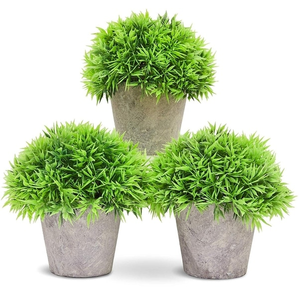 Juvale Small Artificial Potted Fake House Plant Home Decoration 3 Piece Set
