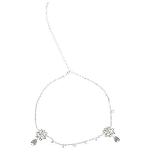 Rhinestone Jewelry Head Chain, Silver Pendant Headpiece Headband for Women Girls
