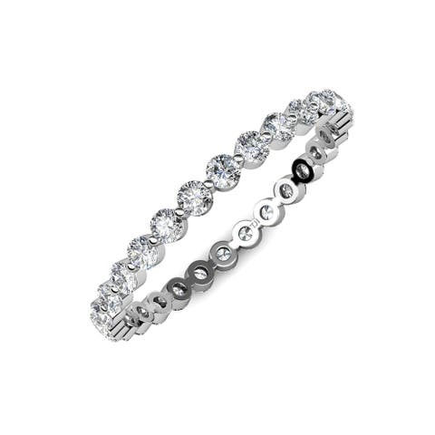 TriJewels Floating Diamond Eternity Ring Stackable 0.75 ctw* 14KW Gold
