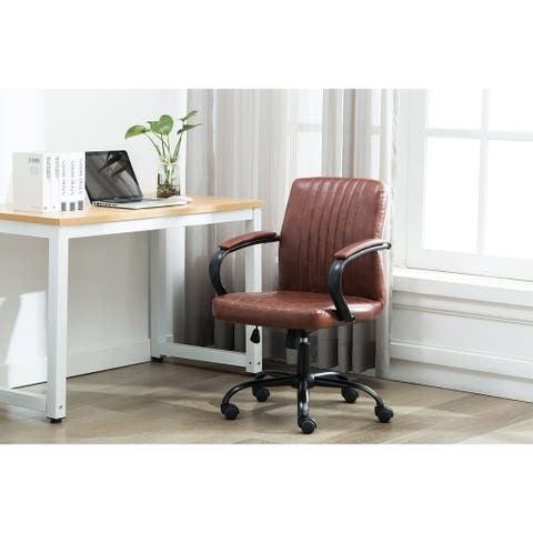 Porthos Home Palmer Swivel Office Chair, Ribbed PU Leather Upholstery