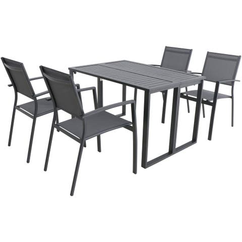 Prudhoe White 5-piece Patio Dining Set with Folding Table by Havenside Home