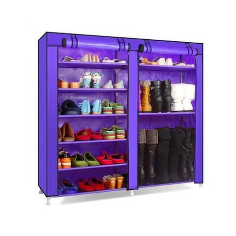 9 Lattices Portable Shoe Rack Closet Fabric Cover Shoe Storage Organizer Cabinet