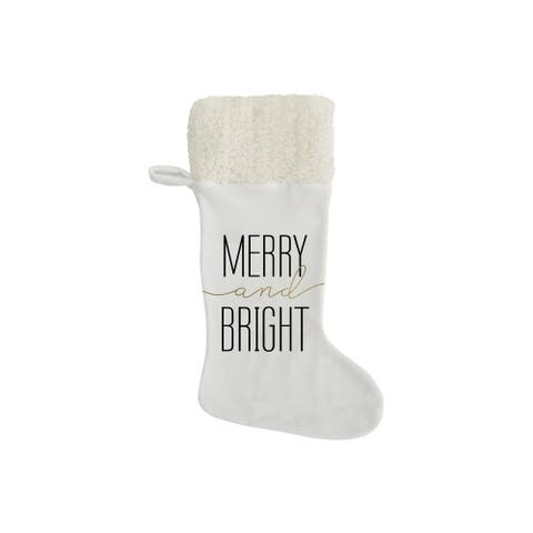 """MERRY AND BRIGHT Christmas Stocking By Kavka Designs - 11"""" x 20"""""""