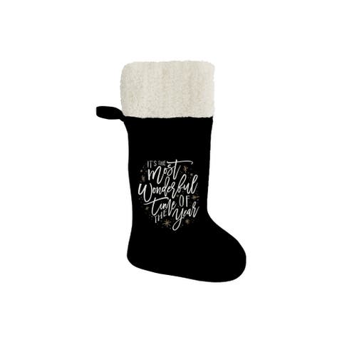 """THE MOST WONDERFUL TIME Christmas Stocking By Kavka Designs - 11"""" x 20"""""""