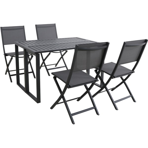 Havenside Home Prudhoe Black 5-piece Patio Dining Set with Folding Table