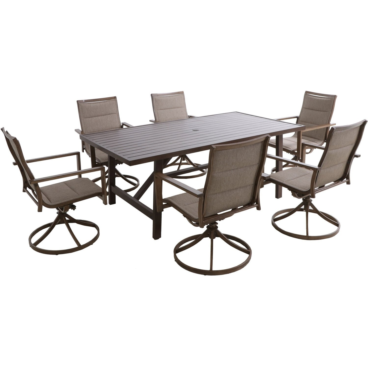 Pleasant Fairhope 7Pc Dining Set 6 Swivel Chairs And 74X40 Tressle Table Andrewgaddart Wooden Chair Designs For Living Room Andrewgaddartcom
