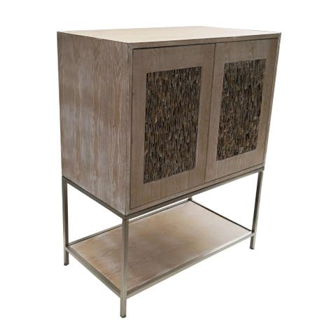 A&B Home Natural and Champagne 42-inch Two-Door Wooden Cabinet