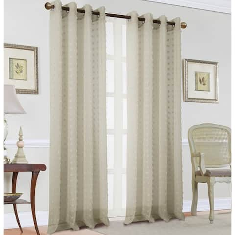 Rockford Clipped Doily Single Grommet Curtain Panel - 54 x 90 in.