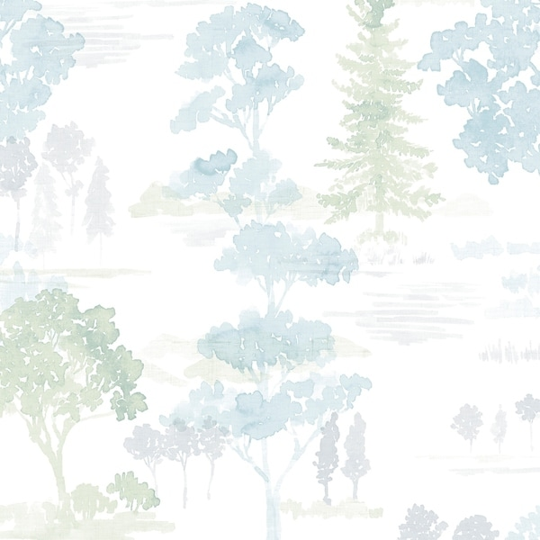 Forest Wallpaper in Blues & Greens. Opens flyout.
