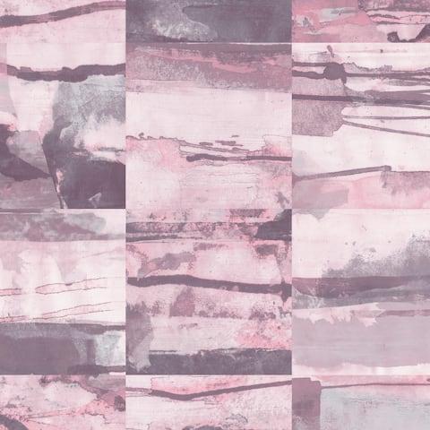 Aquarelle Tile Wallpaper in Pink, Purple & Greys