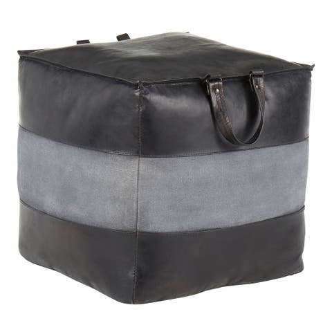 Carbon Loft Najah Industrial Pouf Ottoman in Leather and Canvas