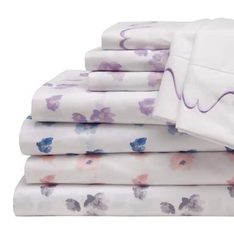 Spring Meadow Print/Embroidered Bonus Bed Sheet Set