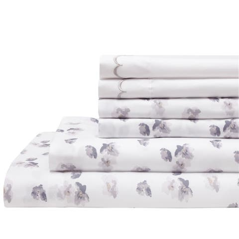 Spring Meadow Print Embroidered Bonus Bed 6-piece Sheet Set