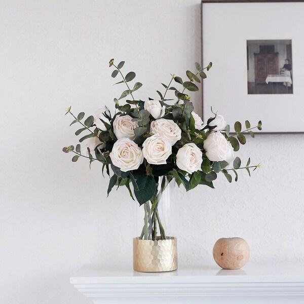MEDA BLOOMS Real Touch Rose Arrangement in Glass Vase