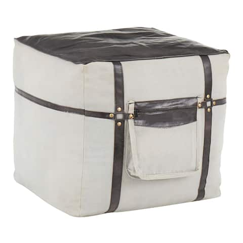 Samson Industrial Pouf Ottoman in Canvas & Leather
