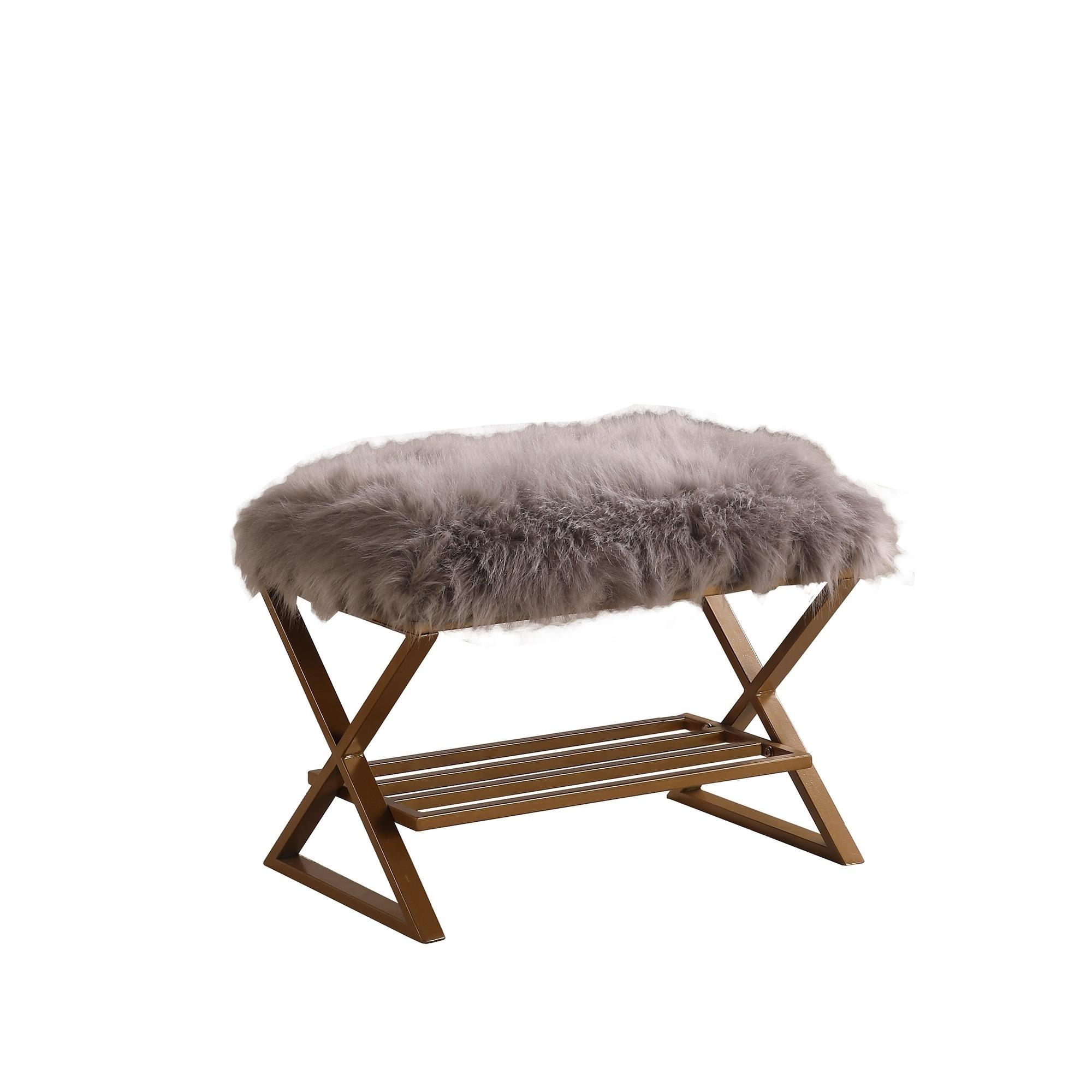Billie Grey Faux Fur Matte Gold Vanity Seating On Sale Overstock 29075613