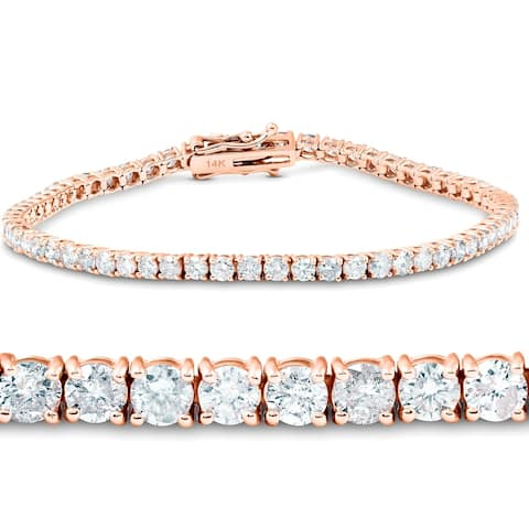 4ct Diamond Tennis Bracelet 14K Rose Gold 7""