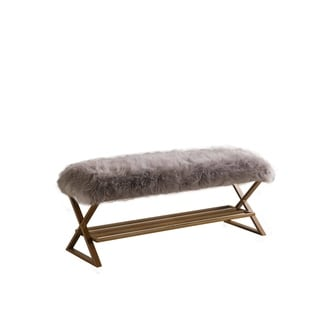 Link to Hayley Grey Faux  Fur Matte Gold Bench Similar Items in Living Room Furniture