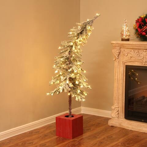 Pre-Lit Clear LED 4ft Porch Artificial Flocked Tree with Red Pot