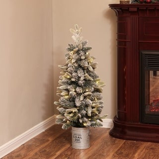 Link to Pre-Lit Clear LED 3ft Porch Artificial Flocked Tree with Base Similar Items in Christmas Greenery