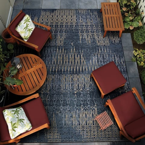 Gelato Frequency Dark Blue-Tan Indoor/Outdoor Area Rug
