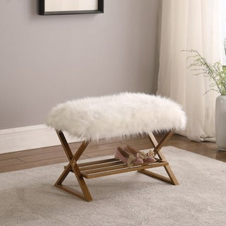 Link to Silver Orchid Chapin White Faux Fur Matte Gold Vanity Seating Similar Items in Living Room Furniture