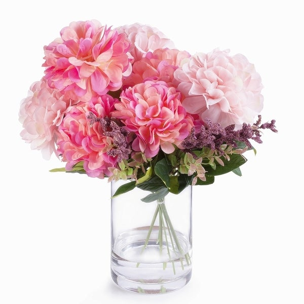 Enova Home 7 Heads Pink Mixed Dahlia Silk Flower Arrangement in Glass Vase with Faux Water. Opens flyout.