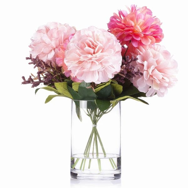 Enova Home 7 Heads Pink Mixed Dahlia Silk Flower Arrangement In Glass Vase With Faux Water Overstock 29075674