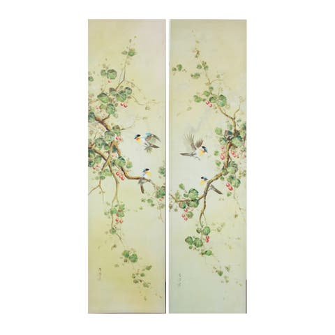 Ivory and Green 59-inch Wall Art (Set of 2)