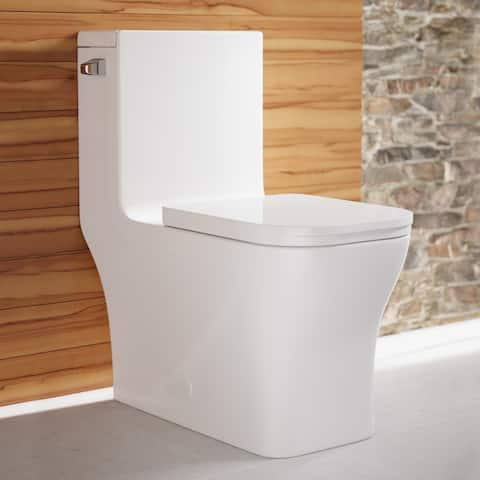 Concorde One Piece Square Left Side Flush Handle Toilet 1.28 gpf