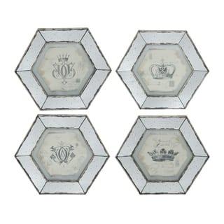 Simeon Large Gray Hexagonal Crown Prints (Set of 4)