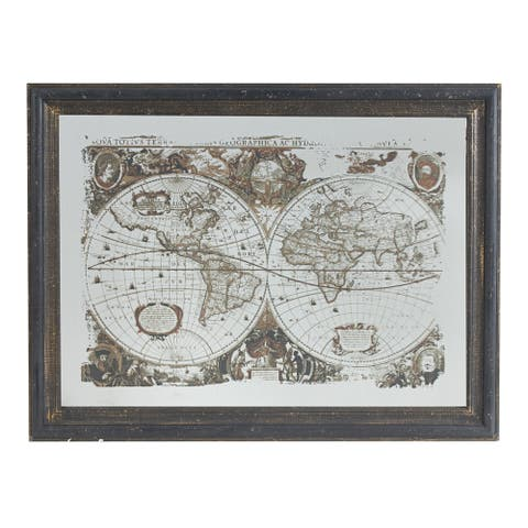 A&B Home Distressed Black and White World Map Mirrored Wall Art - Brown
